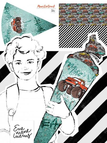 Fabrics/Designers/Enemenemeins/Schultütenset Monstertruck Bild 1