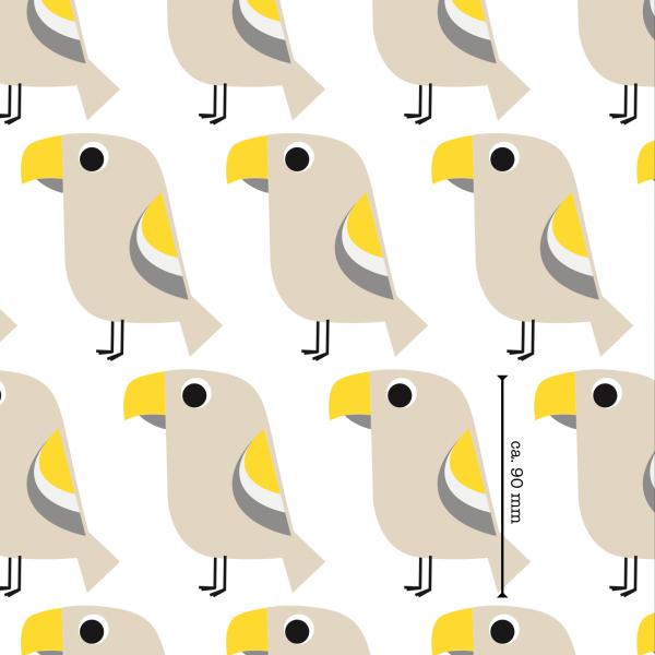 Stoffe/Designer/et voilà/Tropenvogel, gelb-beige Bild 1