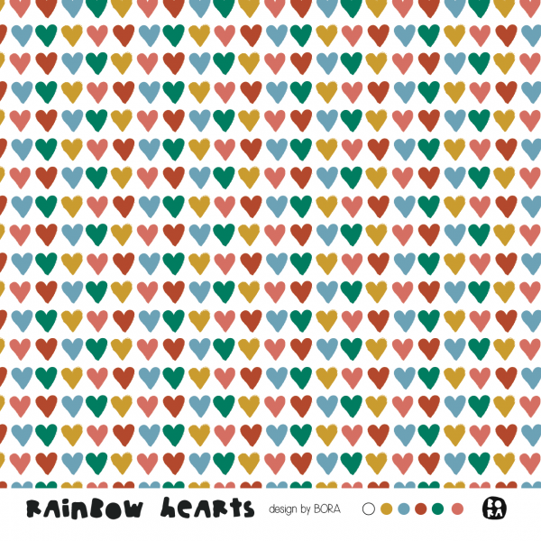 Fabrics/Designers/BORA/Rainbow Hearts Bild 1