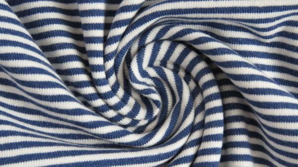 Stoffe/Basics/Ringel/Ringeljersey, garngefärbt, ecru-blau Bild 1