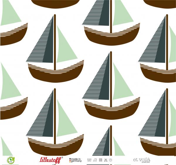 Stoffe/Designer/et voilà/Große Boote, greenbrown Bild 1