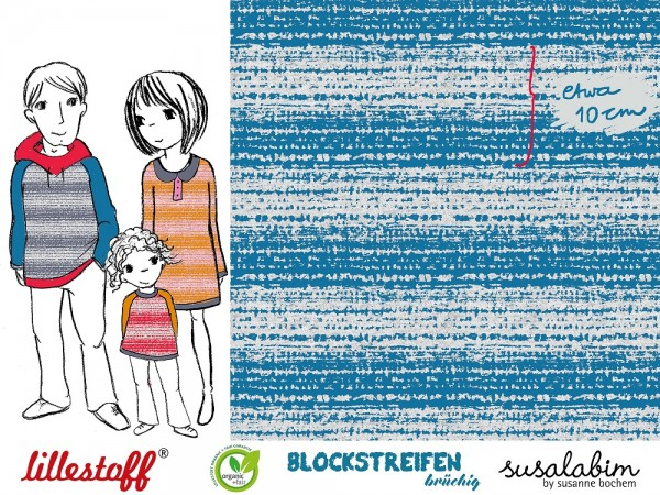 Fabrics/Designers/SUSAlabim/Blockstreifen blau brüchig meliert Bild 1