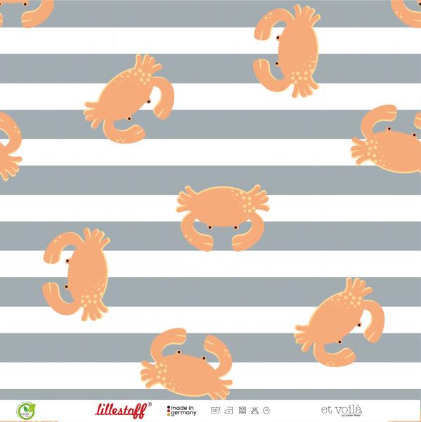 Stoffe/Designer/et voilà/Krabben Krabbeln, graublauweiß Bild 1