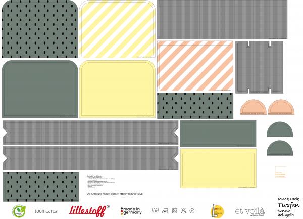Stoffe/Designer/et voilà/Tupfen, tanne-hellgelb Rucksack Bild 1