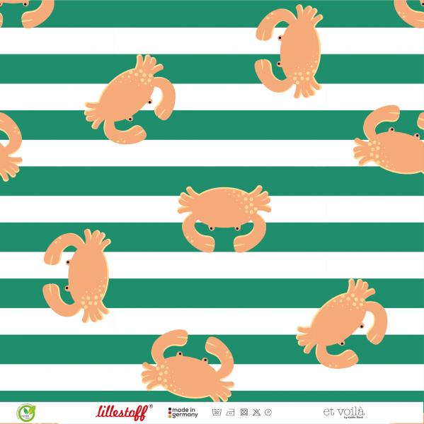 Stoffe/Designer/et voilà/Krabben Krabbeln, grünweiß Bild 1