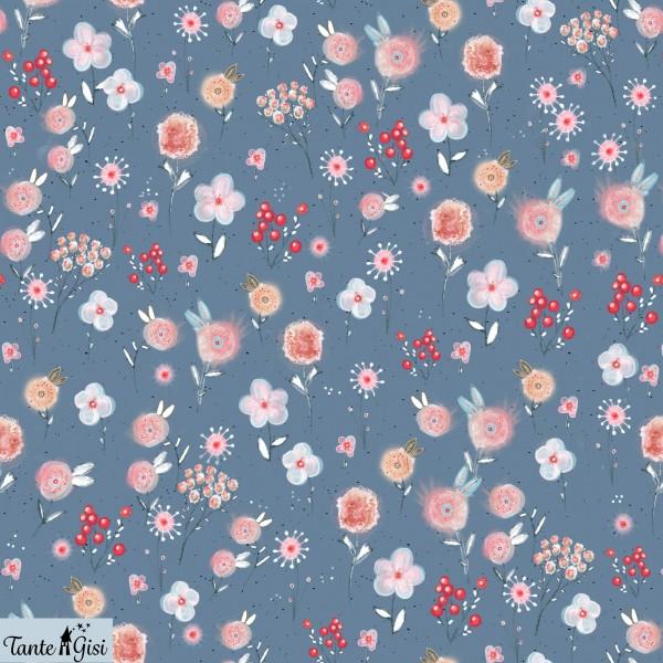 Fabrics/Designers/Tante Gisi/Aquarellwiese, rauchblau Bild 1