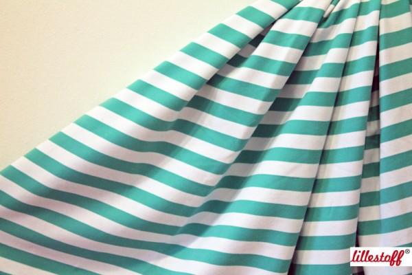 Fabrics/Basics/Stripes/Sweat Blockstreifen mint/weiß Bild 1