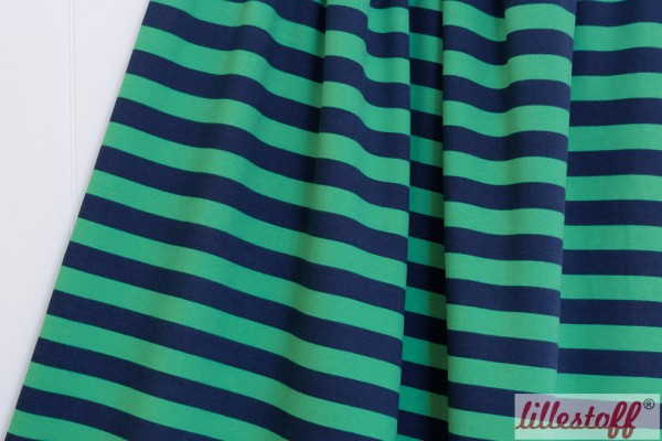 Fabrics/Basics/Stripes/Sweat Blockstreifen dunkelblau/kiwi Bild 1