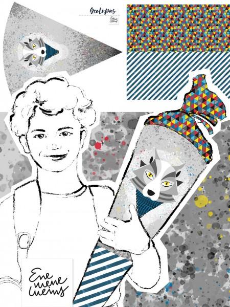 Fabrics/Designers/Enemenemeins/Schultütenset Geo Lupus Bild 1
