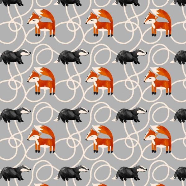 Fabrics/Designers/Enemenemeins/Fuchs und Dachs, grau Bild 1