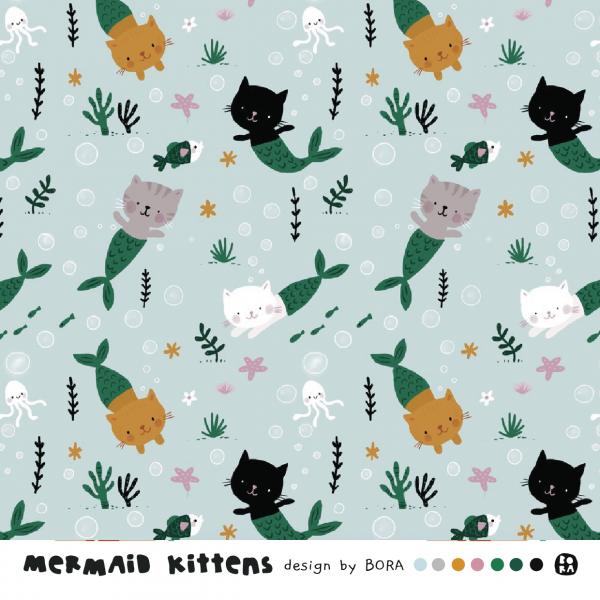 Fabrics/Designers/BORA/Mermaids Kittens Bild 1