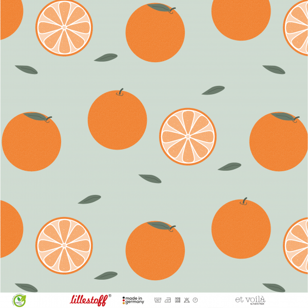 Fabrics/Designers/et voilà/Orangen, altgrün Bild 1
