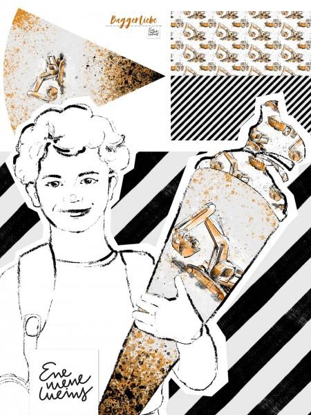 Stoffe/Designer/Enemenemeins/Schultütenset Baggerliebe Bild 1