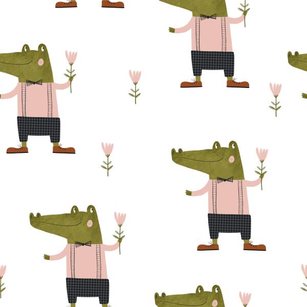 Stoffe/Tiere/Crocodile Gentleman Bild 1