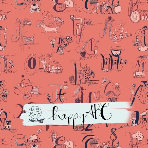 Fabrics/Designers/Miss Patty/HappyABC coral Bild 1