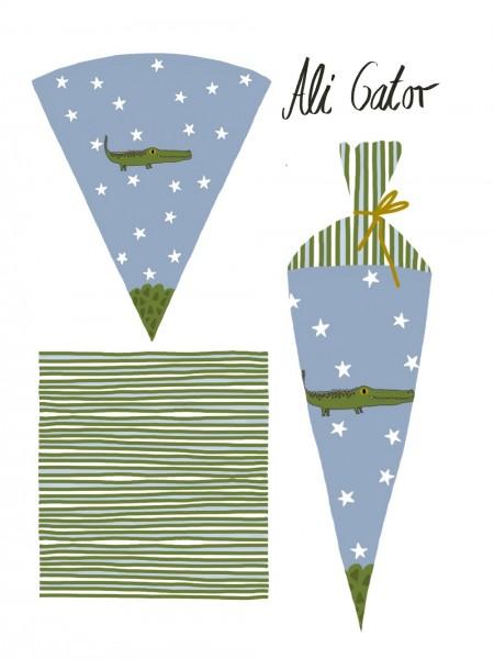 Fabrics/Designers/Lillemo/Schultütenset Ali Gator Bild 1