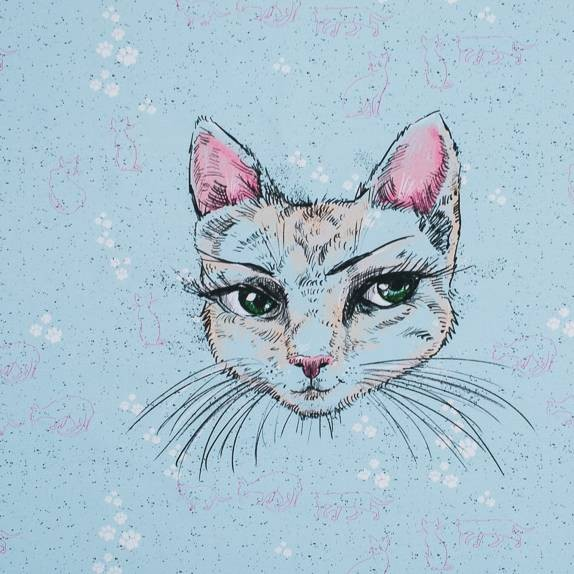 Fabrics/Designers/Tante Gisi/Mademoiselle Chat Bild 1