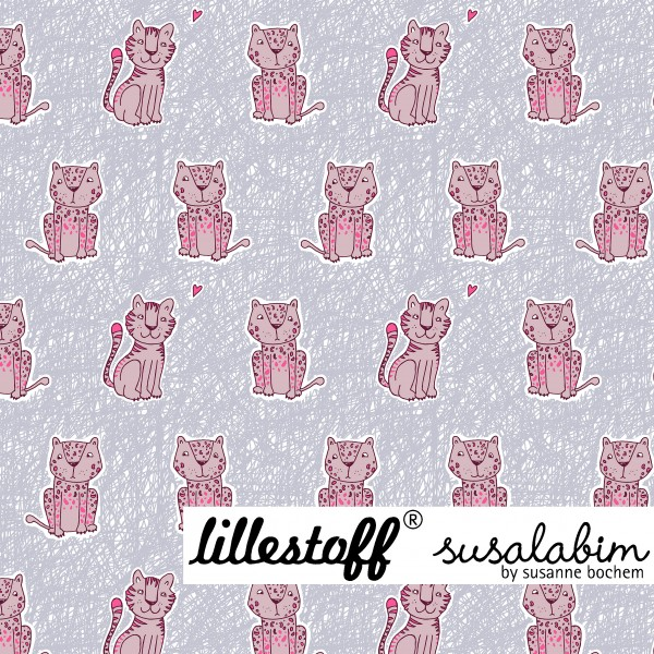 Fabrics/Designers/SUSAlabim/Susalabims Kritzelleo, hellblau/rosa Bild 1