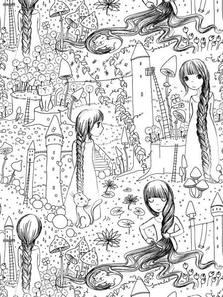 Fabrics/Designers/SUSAlabim/Rapunzel Ausmalbild Bild 1