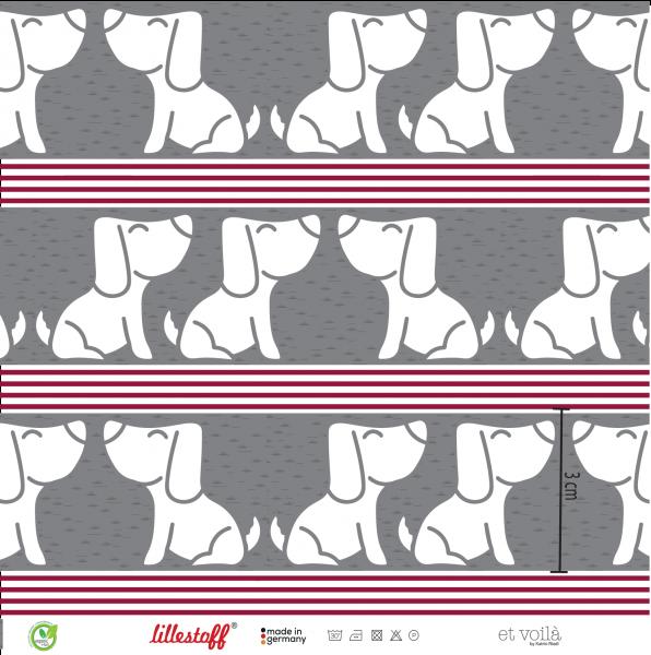 Stoffe/Designer/et voilà/Enno und Streifen, grau-rot Bild 1