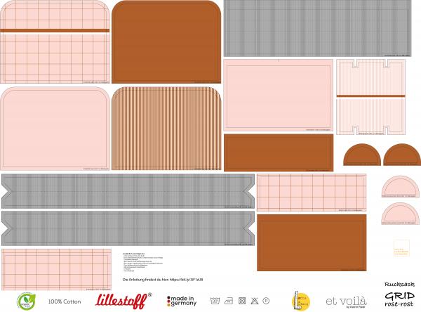 Fabrics/Designers/et voilà/Grid, rose-rost Rucksack Bild 1