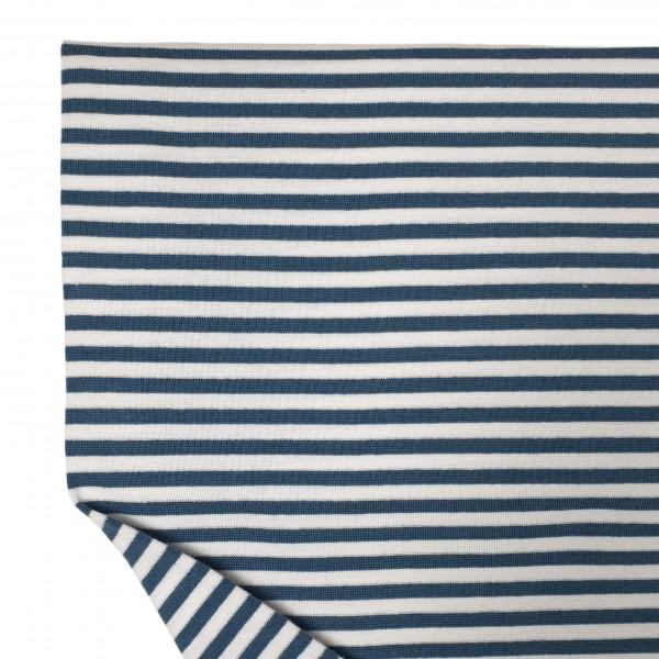 Fabrics/Basics/Striped Cuffs/Bündchen/Ribbing, glatt/smooth, rauchblau/weiß Bild 1