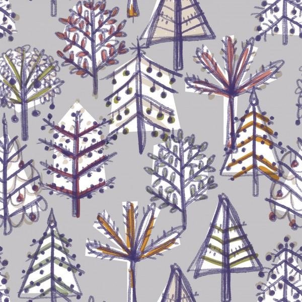 Stoffe/Floral/Weihnachtswald, grau Bild 1