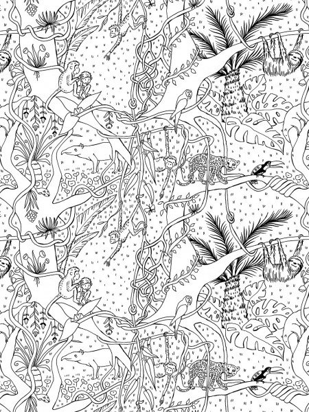 Stoffe/Designer/SUSAlabim/Dschungel Ausmalbild Bild 1