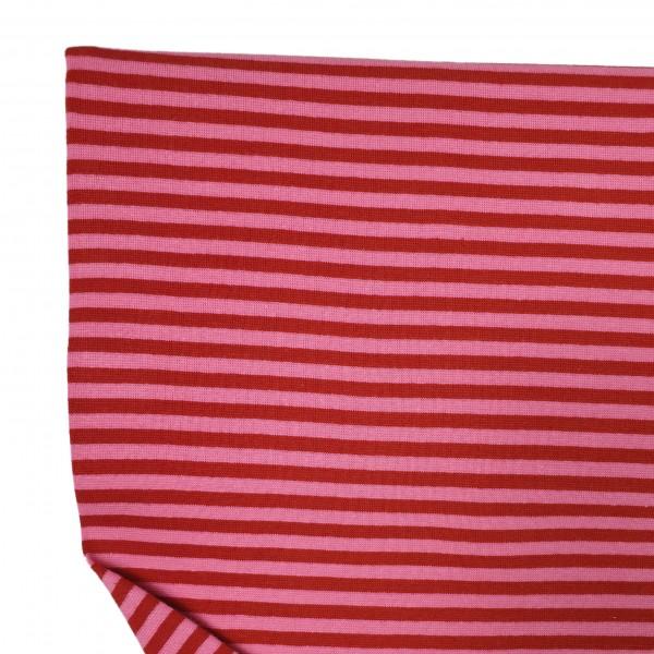 Fabrics/Basics/Striped Cuffs/Bündchen/Ribbing, glatt/smooth, rot/rosa Bild 1