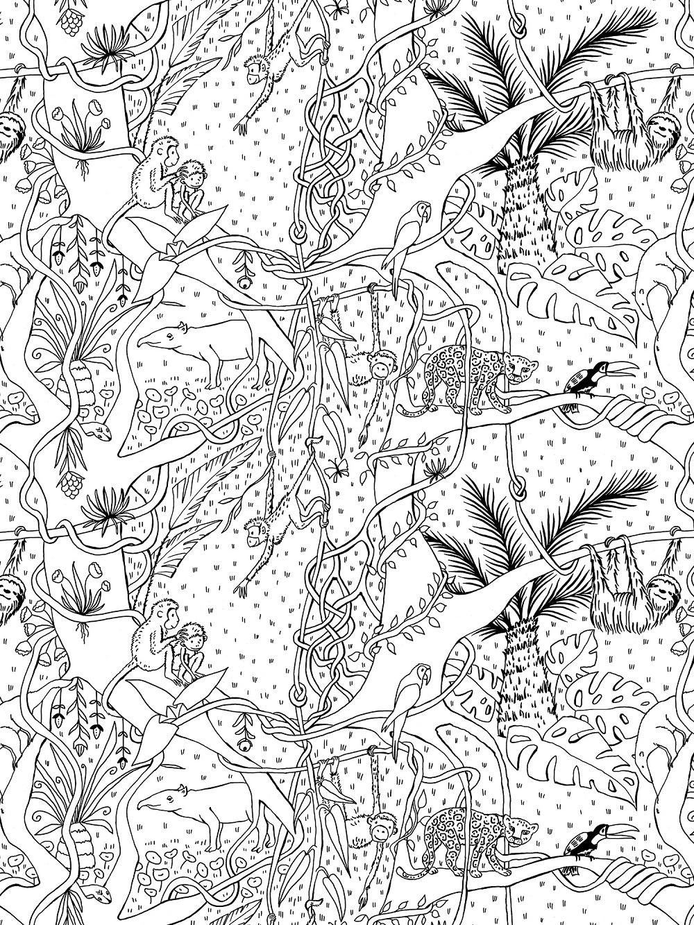 Dschungel, Ausmalbild, Jersey | SUSAlabim | Designer ...