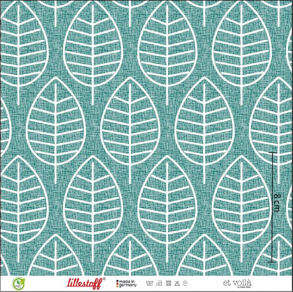 Fabrics/Designers/et voilà/Herbstblatt, petrol Bild 1