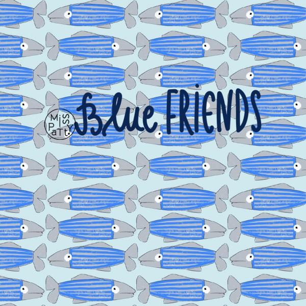 Fabrics/Designers/Miss Patty/Blue Friends Bild 1