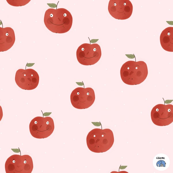Fabrics/Designers/Lillemo/Äppel, rosa Bild 1