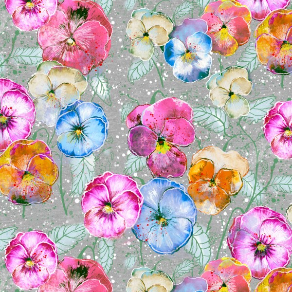 Fabrics/Designers/Tante Gisi/Stiefmütterchen Bild 1