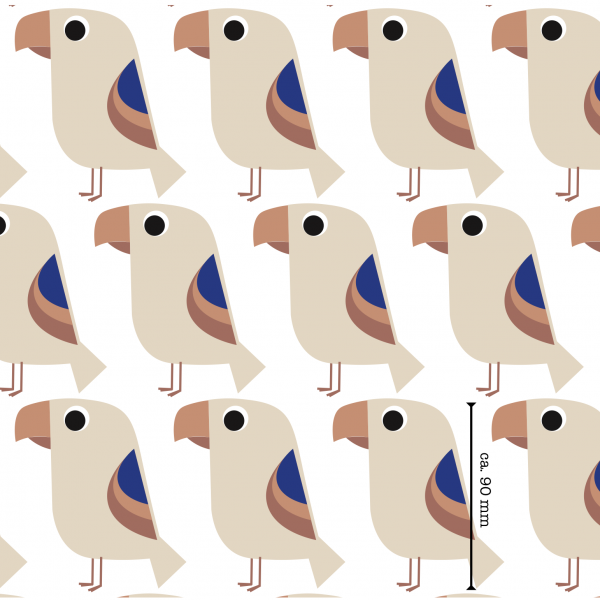 Stoffe/Designer/et voilà/Tropenvogel, royalblau-lachs Bild 1