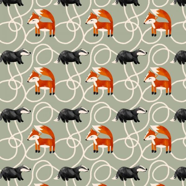 Fabrics/Designers/Enemenemeins/Fuchs und Dachs, grün Bild 1