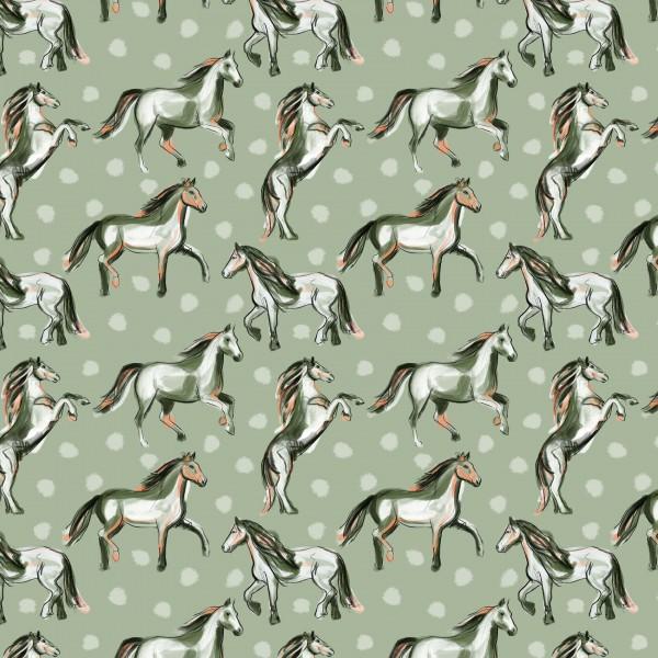 Stoffe/Designer/Enemenemeins/Josefines Pferde, steingrün Bild 1
