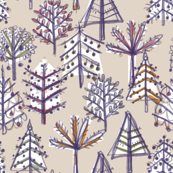 Stoffe/Grafisch/Weihnachtswald, sand Bild 1
