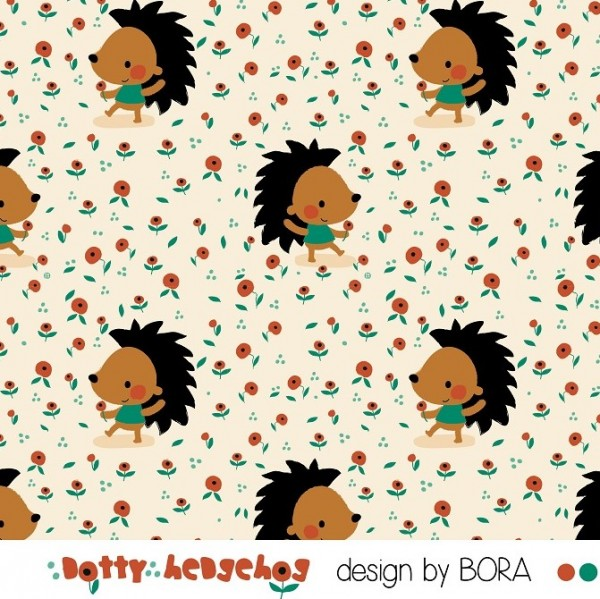 Fabrics/Designers/BORA/Dotty Hedgehog Bild 1