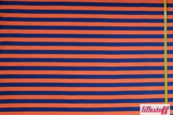 Stoffe/Basics/Ringel/Sweat Blockstreifen blau/orange Bild 1