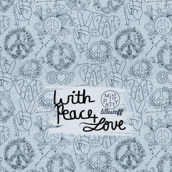 Fabrics/Designers/Miss Patty/Peace And Love graublau meliert Bild 1
