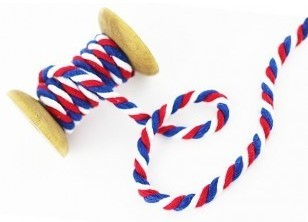 Notions/Twisted Cotton Cord, blue/red/white, 7 mm Bild 1